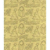 Joy Gold Foil on Embossed Christmas Gift Wrapping Paper -60cm x 9.1m Roll
