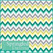CHEVRON STRIPES PATTERN #4 Yellow, Grey, Turquoise & White Craft Vinyl 3 Sheets 12x12 for Vinyl Cutters