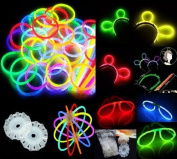200 20cm Glow Stick Bracelets,mixed Colours,100bracelet necklace Connectors,5 Pairs of Glow Glasses Connectors,1 Glow Ball/flower Kit,5 Hair Clip Barrettes