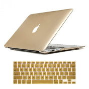 Candance(TM) Gold Frosted Matte Surface Crystal Hard Shell Case for Newest MacBook Pro 38cm with Retina Display A1398 Aluminium Unibody with Keyboard Silicone Cover Skin Stickers Protector and screen protector