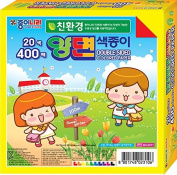 Jong Ie Nara Origami Paper, 15cm Square, 20 Colours (Double Sided), 400-Economy Pack, 60 gsm