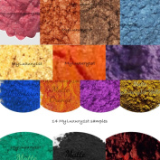 Sample Lot of 14 Matte & Mica Pigments Popular Soap & Cosmetic Product Making Powder 2g Colourants 2 Gramme Each