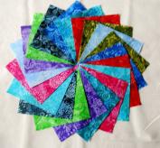 80 13cm Batik Tonal Quilting Fabric Charm Pack