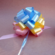 Baby Blue, Yellow, and Pink Pull Bows - 15cm Wide, Set of 6, Easter Decorations
