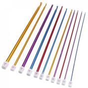"TOOGOO(R) 11pcs 10.6"" Multicolour Aluminium TUNISIAN AFGHAN Crochet Hook Knit Needles Set 2-8mm"