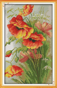 Benway Counted Cross Stitch Beautiful Poppy Flowers 14 Count 35x52cm