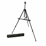 US Art Supply® BLACK PISMO Lightweight Aluminium Field Easel - Great for Table-Top or Floor Use - FREE CARRY BAG