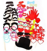 44 Pieces/set Birthday Party Creative Props by Kitty-Party Wedding Party Novelty Moustache Lips Glasses Mask Photographing Props by Kitty-Party