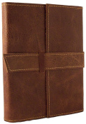 Rustic Ridge Refillable Distressed Leather Travel Journal with Handmade Paper - 15cm x 20cm - Saddle Brown