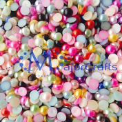 MajorCrafts 1000pcs Mixed Colours 4mm Flat Back Half Round Resin Pearls #33