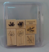 Stampin' Up! BOTANICAL BLOOMS Set of 7 Decorative Rubber Stamps Retired