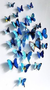 Elife 3D PVC Colourful Butterfly Home Decor Wall Sticker Decal Certain Curtain Decoration