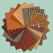 40 Autumn Spice Charm Pack, 13cm Precut Cotton Homespun Fabric Squares by Jubilee Creative Studio
