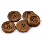 PEPPERLONELY Brand 50PC Coffee 4 Hole Round Wood Buttons Scrapbooking Sewing Buttons 25mm
