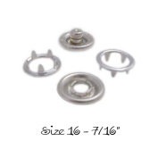 25 SETS - OPEN RING PRONG NO SEW SNAP FASTENERS (100 Pieces) - SIZE 16