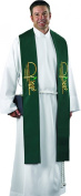 Polyester Stole with Gold Embroidery - Green