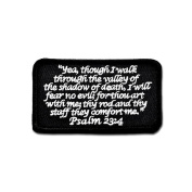 Psalm 23:4 Black and White hook and loop Patch