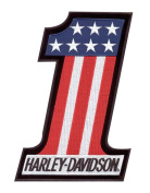 Harley-Davidson® #1 Red, White, and Blue Embroidered Patch. 5.1cm W x 6.7cm H. EM227841
