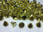100pcs Gold Acrylic 10mm Cone Spike Studs Sew on Stitch On, Stick on Emb