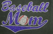 Baseball Mom Blue Rhinestone Transfer Iron On Hot Fix Motif Bling Applique - DIY