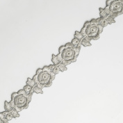 Iron on SILVER Metallic Flower Lace Trim for Bridal, Costume or Jewellery, Crafts and Sewing, 2.5cm by 1 Yard, SMB-3009