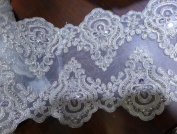 7.5''(19CM) Silver Bilateral Beaded sequins Embroidery lace trim gorgeous lace trim by the yard for fabric Millinery accent motif dress decoration bridal lace wedding lace trim by the yard