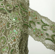 Beaded Sequin Stretched LODEN GREEN Lace Trim, 9.5cm by 1 Yard, SEE-SL-0323-BD