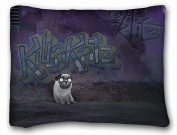 Decorative Standard Pillow Case Animals graffiti pug wall 50cm *70cm One Side
