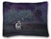 Decorative Standard Pillow Case Animals graffiti pug wall 50cm *70cm One Side