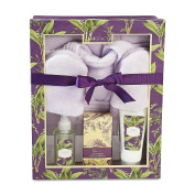 Valentines Lila Grace 6- Piece Lily of the Valley Bath Gift Set , Bath Salts, Shower Gel , Body Lotion, Bathrobe & Slippers