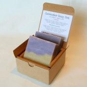 All Natural Handmade Soap Gift Set - Lavender, Evergreen Lavender (2 Bars, 130ml Each) - Made with All Natural / Organic Ingredients!!