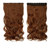 Light Auburn 43cm Long Curly One Piece Clip in Hair Extensions (5 Clips) Clip Ins Hairpiece for Women Lady Girl