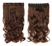 Light Brown 43cm Long Curly One Piece Clip in Hair Extensions (5 Clips) Clip Ins Hairpiece for Women Lady Girl