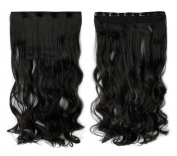Natural Black 43cm Long Curly One Piece Clip in Hair Extensions (5 Clips) Clip Ins Hairpiece for Women Lady Girl