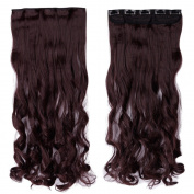 70cm Curly One Piece Clip in Hair Extensions (5 Clips) Wine Red Clip Ins Hairpiece for Women Lady Girl