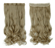 Ash Blonde 43cm Long Curly One Piece Clip in Hair Extensions (5 Clips) Clip Ins Hairpiece for Women Lady Girl