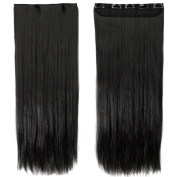 70cm Straight One Piece Clip in Hair Extensions (5 Clips) Natural Black Clip Ins Hairpiece for Women Lady Girl