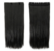 60cm Straight One Piece Clip in Hair Extensions (5 Clips) Natural Black Clip Ins Hairpiece for Women Lady Girl