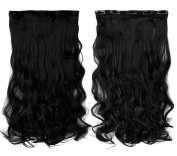 Jet Black 43cm Long Curly One Piece Clip in Hair Extensions (5 Clips) Clip Ins Hairpiece for Women Lady Girl