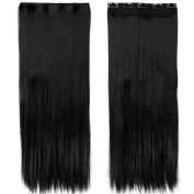 70cm Straight One Piece Clip in Hair Extensions (5 Clips) Jet Black Clip Ins Hairpiece for Women Lady Girl