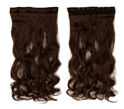 Dark Auburn 43cm Long Curly One Piece Clip in Hair Extensions (5 Clips) Clip Ins Hairpiece for Women Lady Girl