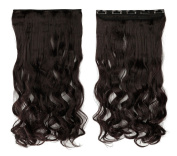 Dark Brown 43cm Long Curly One Piece Clip in Hair Extensions (5 Clips) Clip Ins Hairpiece for Women Lady Girl