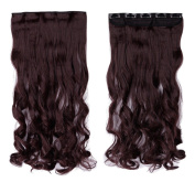 Wine Red 60cm Curly One Piece Clip in Hair Extensions (5 Clips) Clip Ins Hairpiece for Women Lady Girl