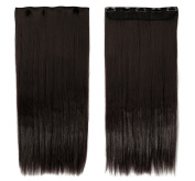 60cm Straight One Piece Clip in Hair Extensions (5 Clips) Dark Brown Clip Ins Hairpiece for Women Lady Girl