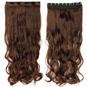 70cm Curly One Piece Clip in Hair Extensions (5 Clips) Light Brown Clip Ins Hairpiece for Women Lady Girl
