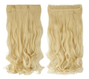 Bleach Blonde 43cm Long Curly One Piece Clip in Hair Extensions (5 Clips) Clip Ins Hairpiece for Women Lady Girl