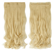 Bleach Blonde 60cm Curly One Piece Clip in Hair Extensions (5 Clips) Clip Ins Hairpiece for Women Lady Girl