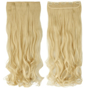 70cm Curly One Piece Clip in Hair Extensions (5 Clips) Bleach Blonde Clip Ins Hairpiece for Women Lady Girl