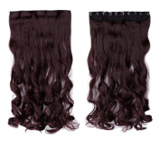 Wine Red 43cm Long Curly One Piece Clip in Hair Extensions (5 Clips) Clip Ins Hairpiece for Women Lady Girl