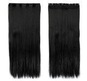 60cm Straight One Piece Clip in Hair Extensions (5 Clips) Jet Black Clip Ins Hairpiece for Women Lady Girl